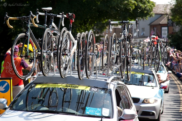 Cavalcade of support vehicles for Olympic road race 2012
