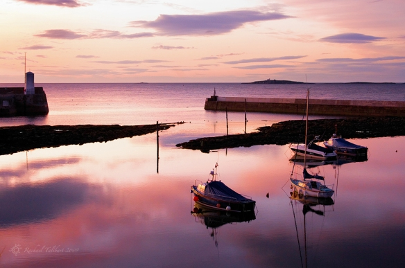sunset over harbour, Northumberland
