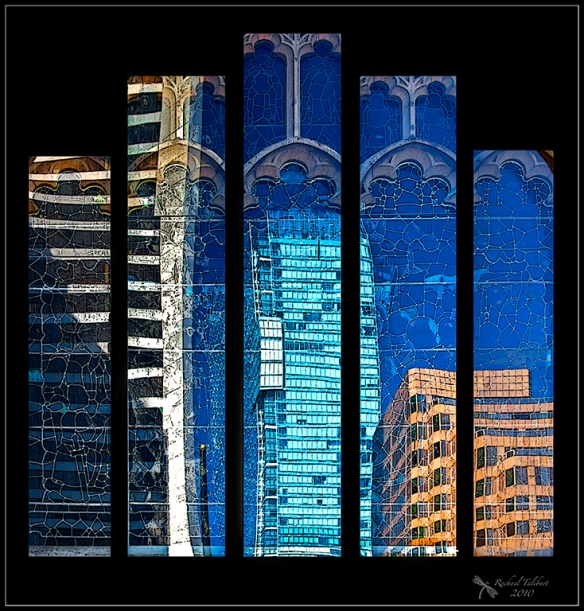 Five panels of city reflections