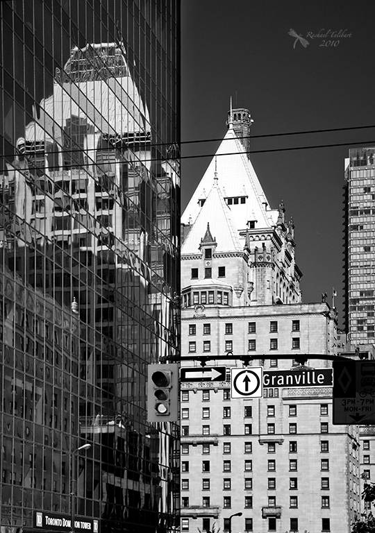 black and white Vancouver city
