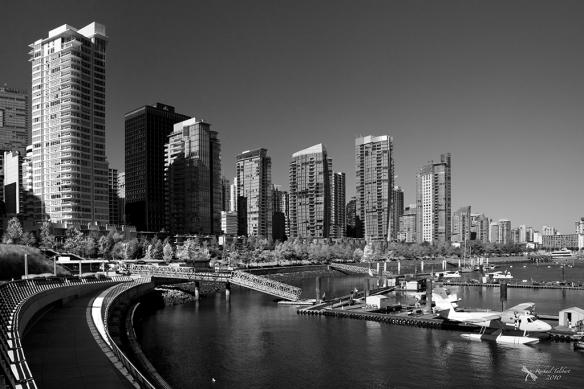 black and white cityscape