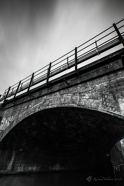 Black and white railway bridge