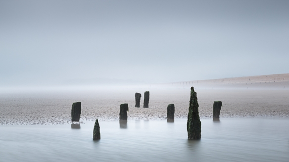misty beach scene from Sussex